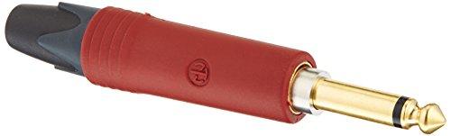 Neutrik NP2X AU-SILENT Klinkenstecker, vergoldete Kontakte, roter Gummi Mantel,