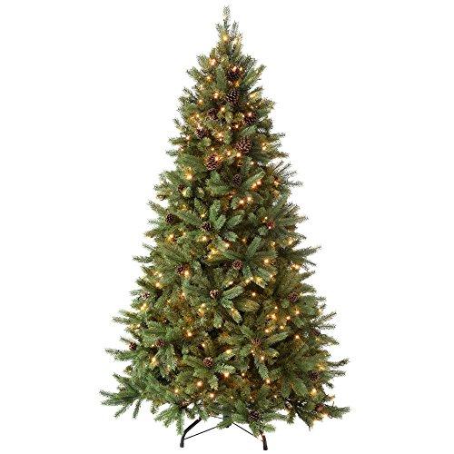 WeRChristmas 1.52 meters/1,50 m Craford Zapfen Pre, Light Multi Funktion, Weihnachtsbaum mit 300 warmweißen LED-Leuchten, 8 Einstellungen, Controller, klappbare Zweige