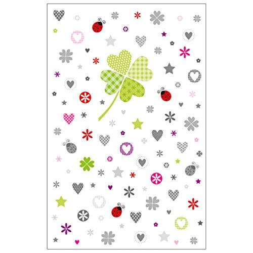 Susy Card Glückwunschkarte Allgemein ohne Text, Kleeblatt mit Elementen, 1 Stück in Folie