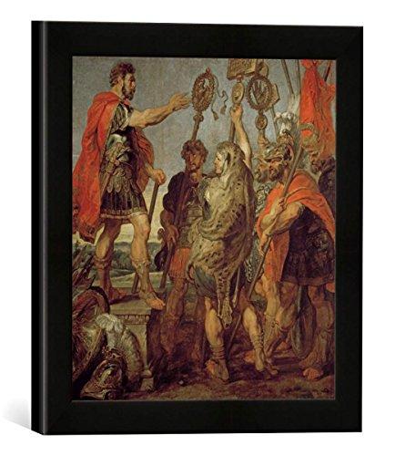 """Gerahmtes Bild von Peter Paul Rubens """"Decius Mus deutet Traum / Gem. v. Rubens"""", Kunstdruck im hochwertigen handgefertigten Bilder-Rahmen, 30×30 cm, Schwarz matt"""