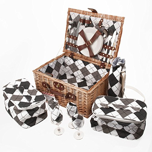 Savisto Luxus 4 Personen Picknickkorb mit komplettem Picknick-Set inkl. Teller, Besteck, Weingläsern, Kühltaschen und Weinkühler