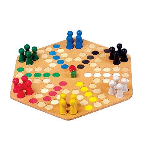 """Ludo """"6er"""" für sechs Personen mit großem Brett,  optimal für kleine Kinderhände, Spielspaß für die ganze Familie"""